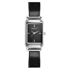 Rebirth Ladies Luxury Stainless Steel and Leather watch - Black on Black Dial