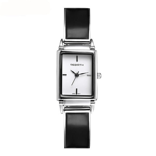 Rebirth Ladies Luxury Stainless Steel and Leather watch - Black on White Dial