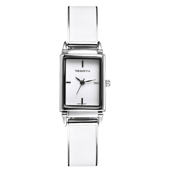 Rebirth Ladies Luxury Stainless Steel and Leather watch - White on White Dial