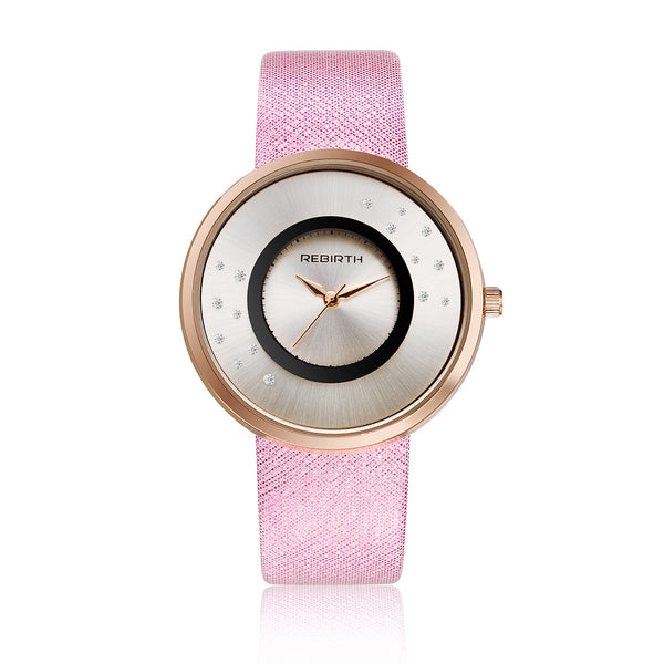 Rebirth Luxury Ladies Watch Rose Gold Case - Pink