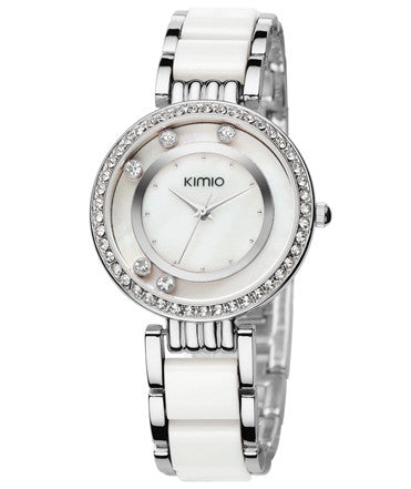 Kimio Ultra Slim Luxury Women Rhinestone Watch - White