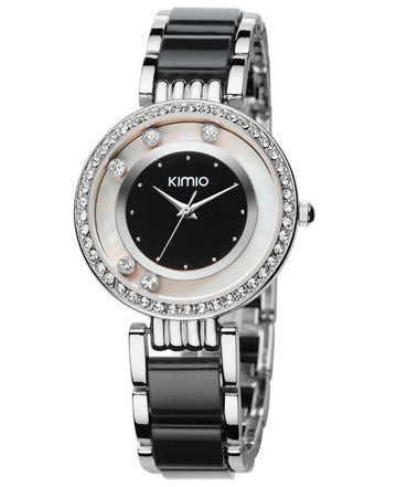 Kimio Ultra Slim Luxury Women Rhinestone Watch - Black