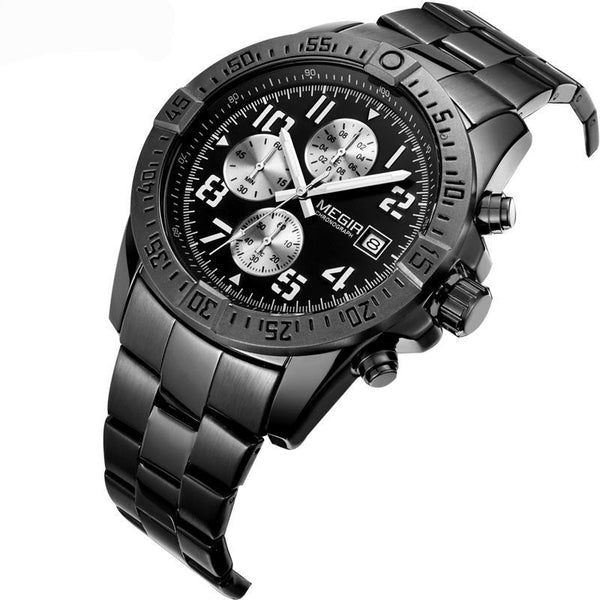 MEGIR Men's Stainless Steel Full Chronograph Watch - Black