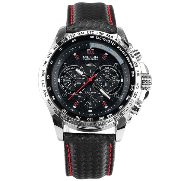 Megir Luxury Mens Leather Watch - Black face