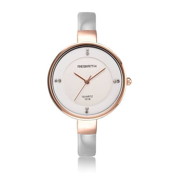 REBIRTH Elegant Ladies Leather Quartz Watch - White