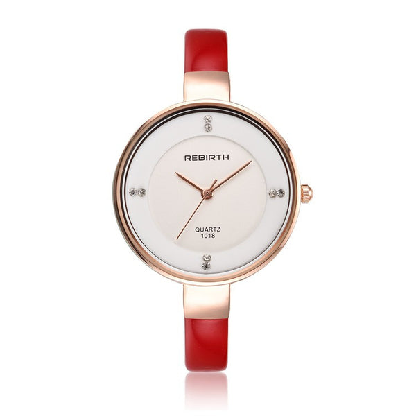 REBIRTH Elegant Ladies Leather Quartz Watch - Red