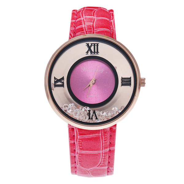 Ladies Luxury Leather - Fashion Stone quartz watch - Pink