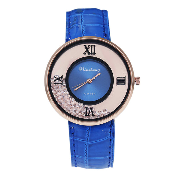 Ladies Luxury Leather - Fashion Stone quartz watch - Blue