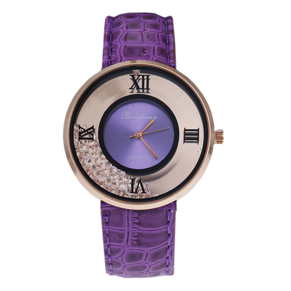 Ladies Luxury Leather - Fashion Stone quartz watch - Purple