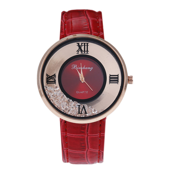 Ladies Luxury Leather - Fashion Stone quartz watch - Red