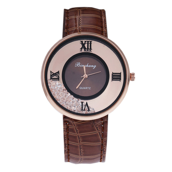 Ladies Luxury Leather - Fashion Stone quartz watch - Brown