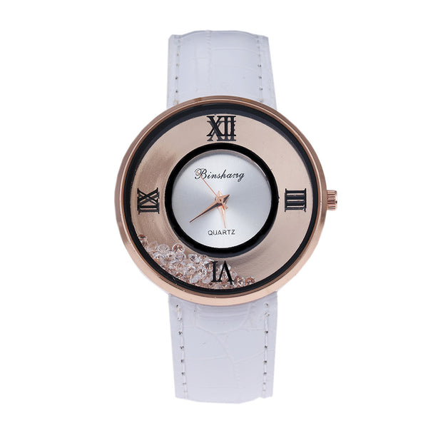 Ladies Luxury Leather - Fashion Stone quartz watch -White