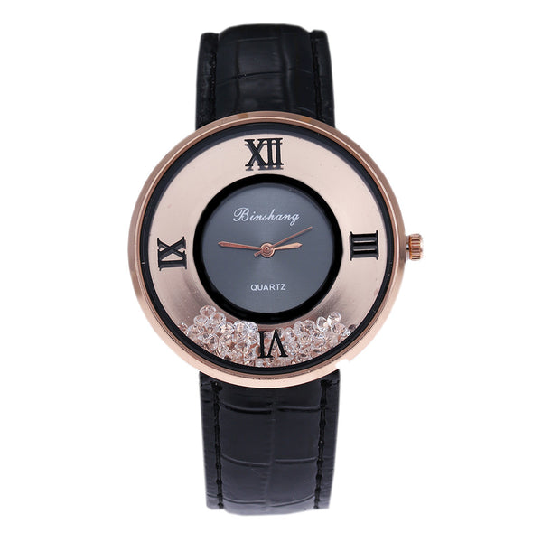 Ladies Luxury Leather - Fashion Stone quartz watch -Black