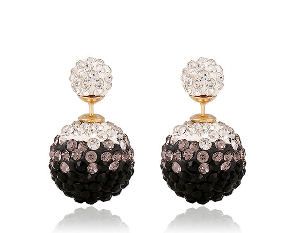 Two-sided Black & White Two-toned  Rhinestone Earrings