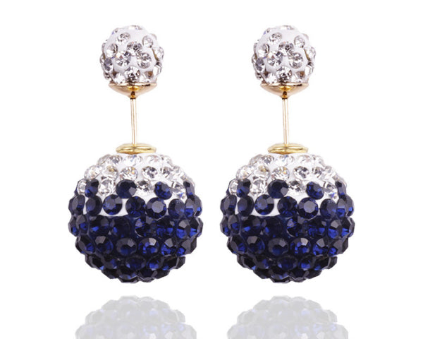 Two-sided Dark Blue & White Two-toned  Rhinestone Earrings