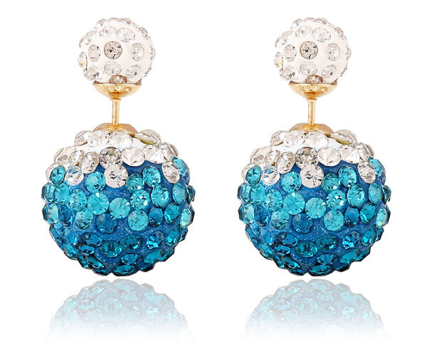 Two-sided Turquoise Blue & White Two-toned  Rhinestone Earrings