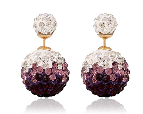 Two-sided Dark Purple & White Two-toned  Rhinestone Earrings