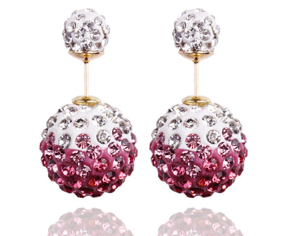 Two-sided Pink & White Two-toned  Rhinestone Earrings