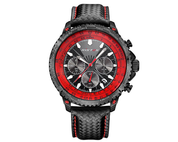 Ristos 93006 Black Men's Full Chronograph movement with calendar - Red