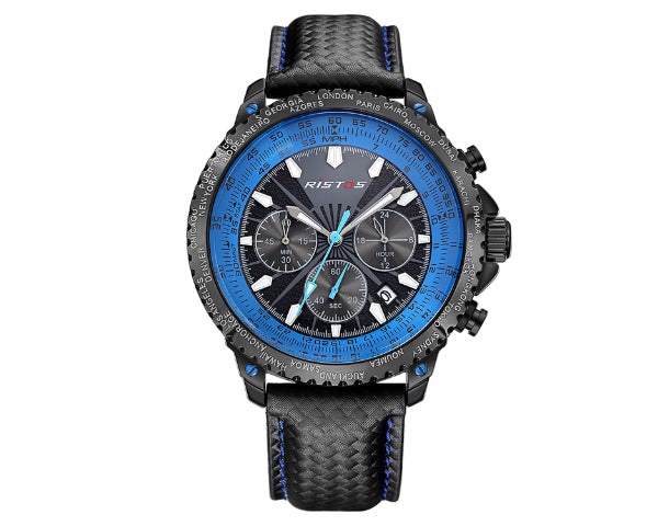 Ristos 93006 Black Men's Full Chronograph movement with calendar - Blue