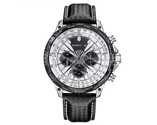 Ristos 93006 Black Men's Full Chronograph movement with calendar - White