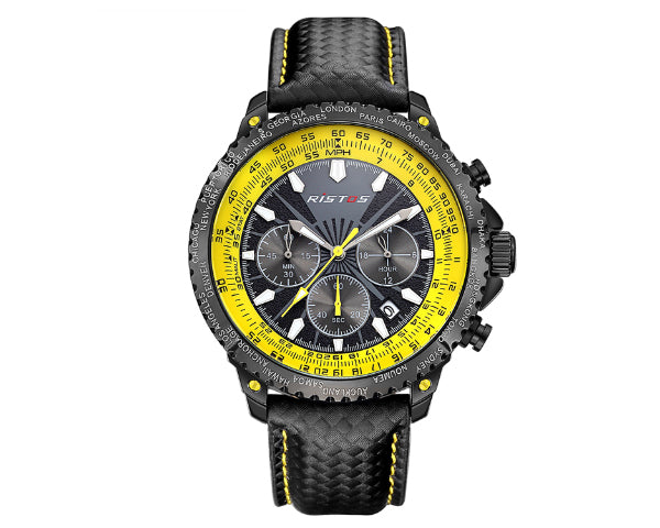 Ristos 93006 Black Men's Full Chronograph movement with calendar - Yellow