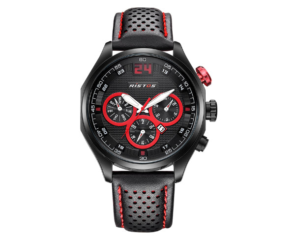 Ristos 93013 Black Men's Full Chronograph movement with calendar - Red