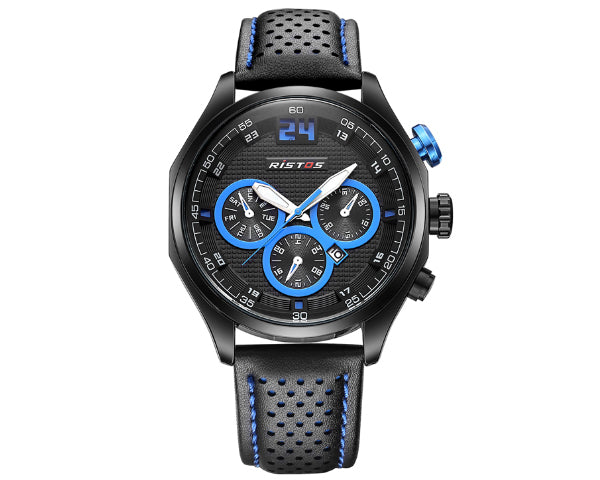 Ristos 93013 Black Men's Full Chronograph movement with calendar - Blue