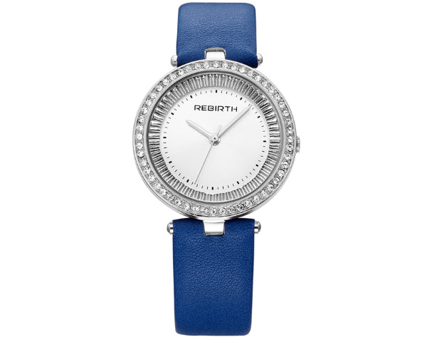 Rebirth Luxury Ladies Leather and Diamante Blue watch