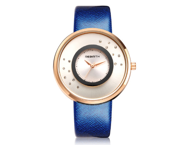 Rebirth Luxury Ladies Watch Rose Gold Case - Blue