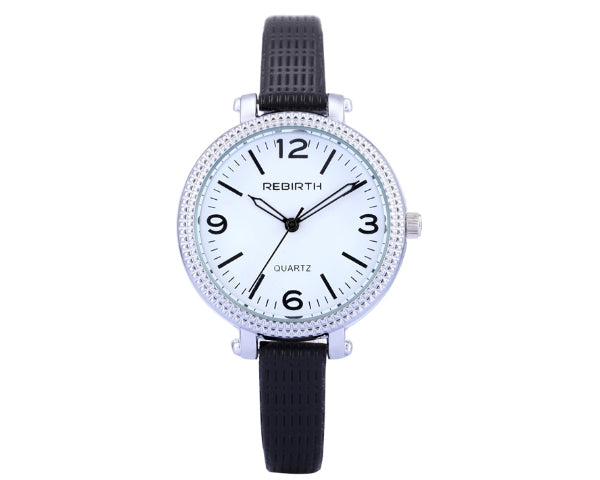 REBIRTH Luxury Ladies Stainless Steel Case And Leather Strap Wrist Quartz Watch - Black