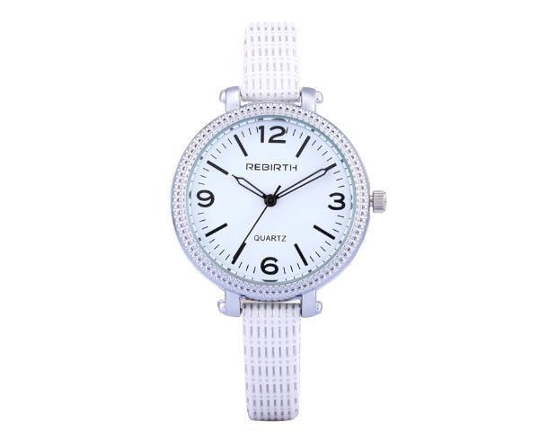 REBIRTH Luxury Ladies Stainless Steel Case And Leather Strap Wrist Quartz Watch - White