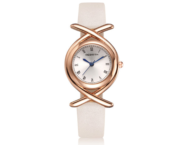 REBIRTH Luxury Ladies White Leather Crossover Watch