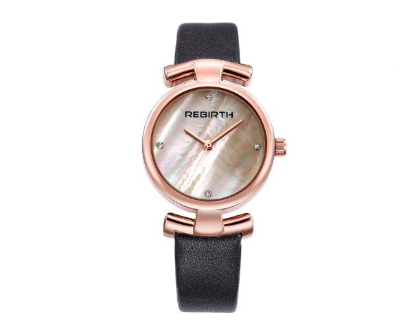 REBIRTH Luxury Classic Ladies Black Leather Watch