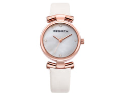REBIRTH Luxury Classic Ladies White Leather  Watch