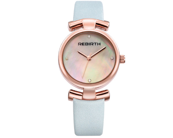 REBIRTH Luxury Classic Ladies Pastel Blue Leather  Watch