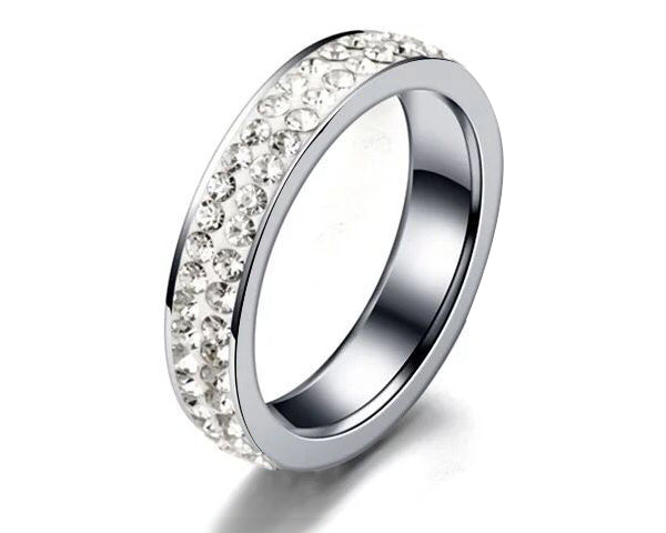2 Full Row White Crystal Stainless Steel Ring