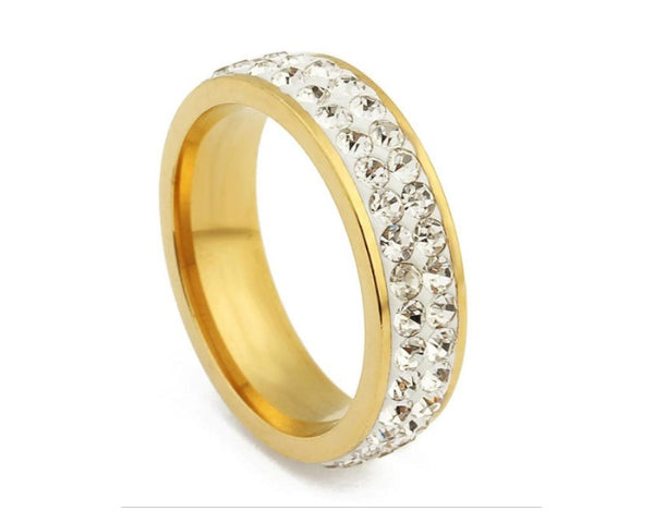 2 Full Row White Crystal on Gold Stainless Steel Ring