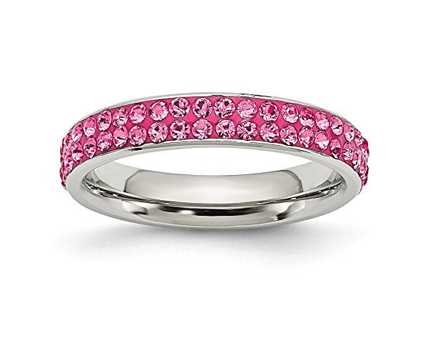 2 Full Row Pink Crystal Stainless Steel Ring