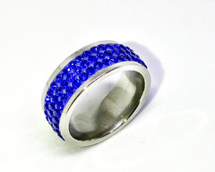 3 Row Blue Stainless Steel Ring.