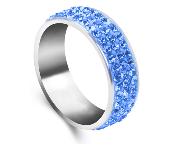 3 Row Light Blue Stainless Steel Ring.