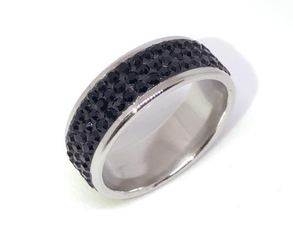 3 Row Black Stainless Steel Ring.