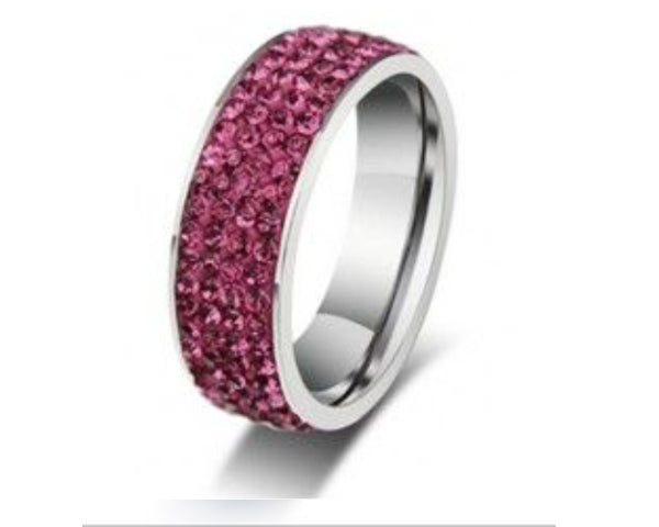 4 Full Row Pink Stainless Steel Ring
