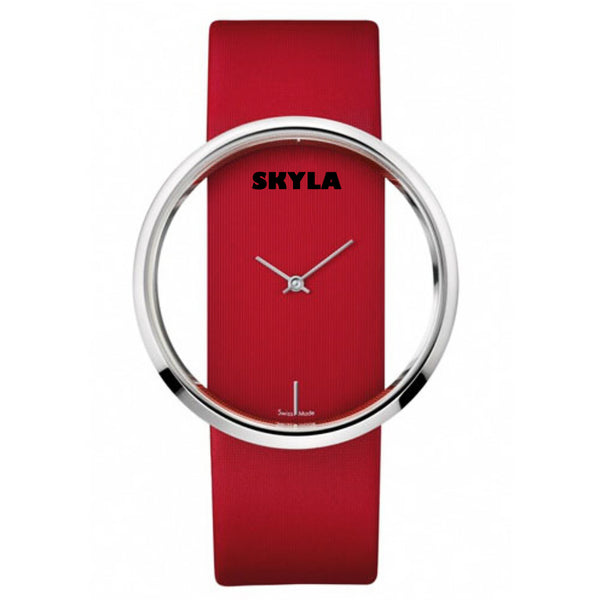 Hollow Round Face Red Watch.