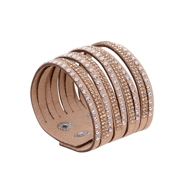 Double Beige Leather Rhinestone Bracelet.
