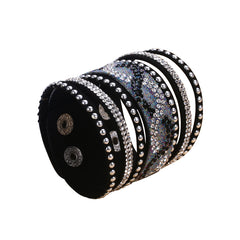 Double Black Leather S-Curve Rhinestone Bracelet.