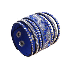 Double Blue Leather S-Curve Rhinestone Bracelet.