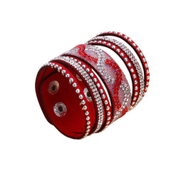 Double Red Leather S-Curve Rhinestone Bracelet.