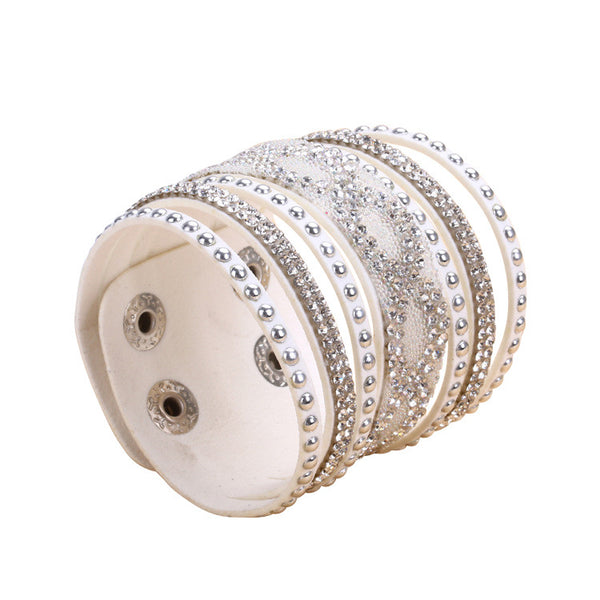 Double White Leather S-Curve Rhinestone Bracelet.