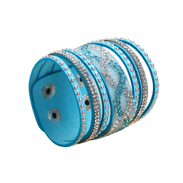 Double Turquoise Leather S-Curve Rhinestone Bracelet.